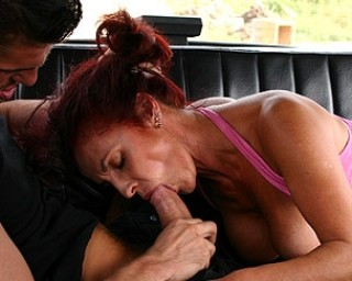 This hairy mama gets fucked in a car